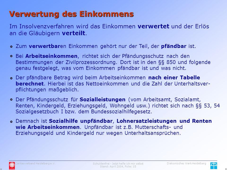 Caritasverband Heidelberg e.V.Schuldenfrei - Jetzt helfe ich mir selbst Stand: April 2004, Folie: 15 Diakonisches Werk Heidelberg Verwertung des Einkommens Im Insolvenzverfahren wird das Einkommen verwertet und der Erlös an die Gläubigern verteilt.