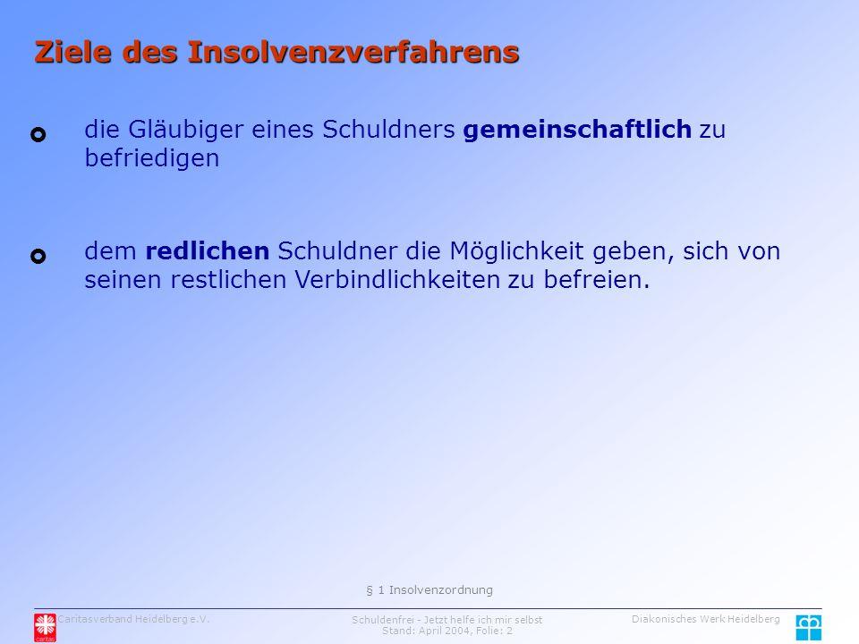Caritasverband Heidelberg e.V.Schuldenfrei - Jetzt helfe ich mir selbst Stand: April 2004, Folie: 2 Diakonisches Werk Heidelberg Ziele des Insolvenzverfahrens die Gläubiger eines Schuldners gemeinschaftlich zu befriedigen   § 1 Insolvenzordnung dem redlichen Schuldner die Möglichkeit geben, sich von seinen restlichen Verbindlichkeiten zu befreien.
