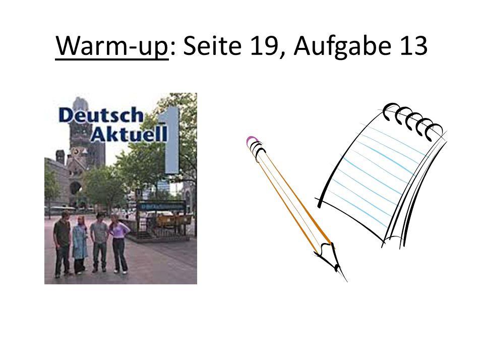 Warm-up: Seite 19, Aufgabe 13