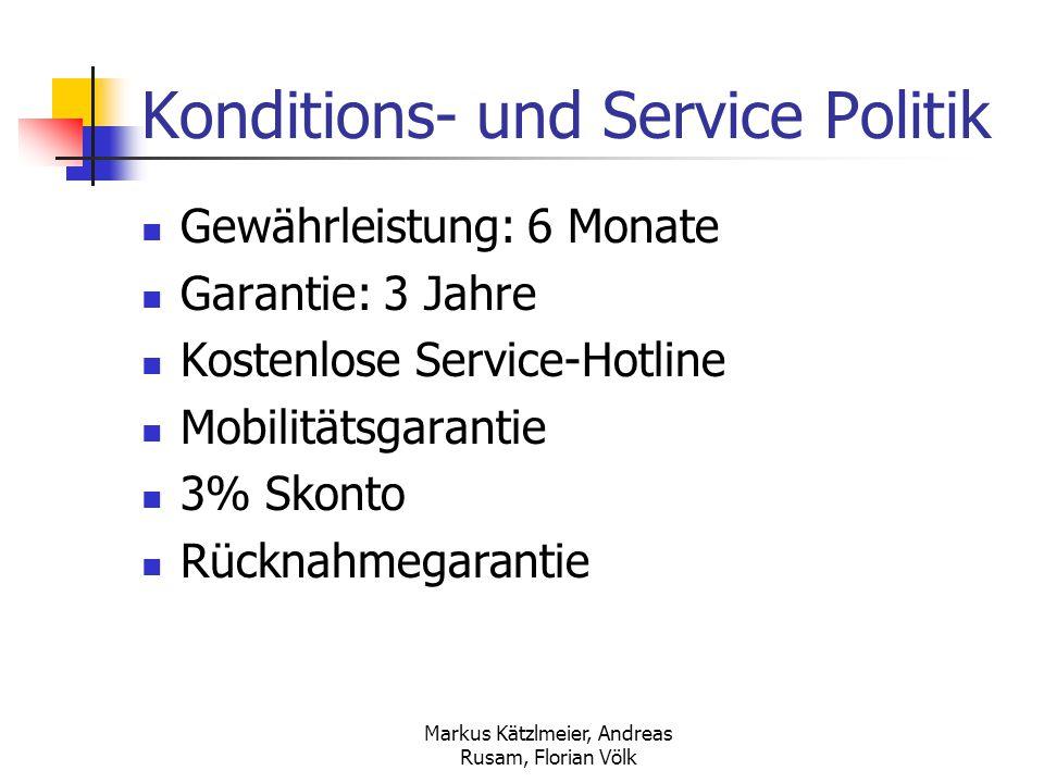 Markus Kätzlmeier, Andreas Rusam, Florian Völk Konditions- und Service Politik Gewährleistung: 6 Monate Garantie: 3 Jahre Kostenlose Service-Hotline M