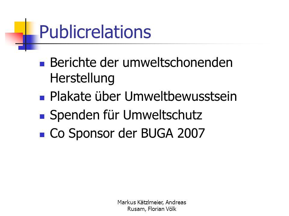 Markus Kätzlmeier, Andreas Rusam, Florian Völk Publicrelations Berichte der umweltschonenden Herstellung Plakate über Umweltbewusstsein Spenden für Um