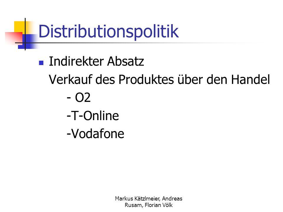 Markus Kätzlmeier, Andreas Rusam, Florian Völk Inhaltsverzeichnis Marktforschung Marktdaten Das Produkt Marktstrategie Marketinginstrumente Preisstrategie Konditions- u.