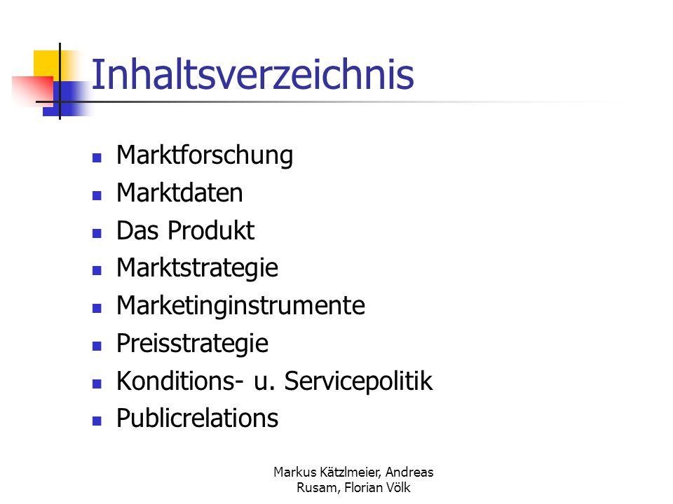 Markus Kätzlmeier, Andreas Rusam, Florian Völk Inhaltsverzeichnis Marktforschung Marktdaten Das Produkt Marktstrategie Marketinginstrumente Preisstrat