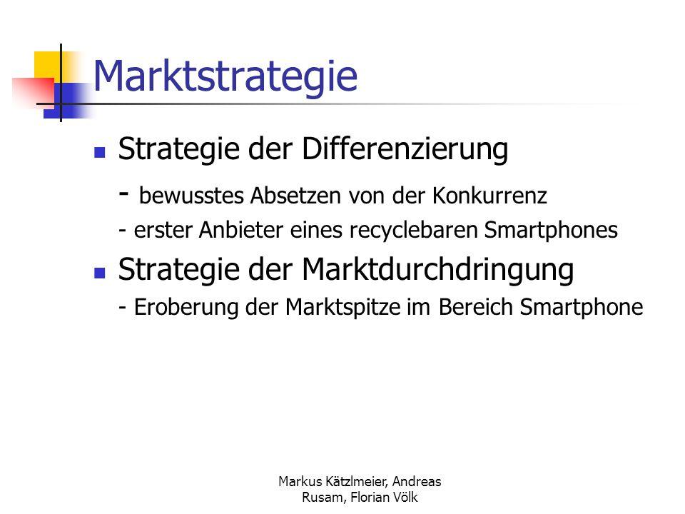 Markus Kätzlmeier, Andreas Rusam, Florian Völk Preisstrategie Hochpreispolitik - für Abnehmer mit gehobenen Ansprüchen Abschöpfungsstrategie (Skimming) - hoher Preis bei Markteinführung - mit zunehmender Markterschließung wird der Preis sinken