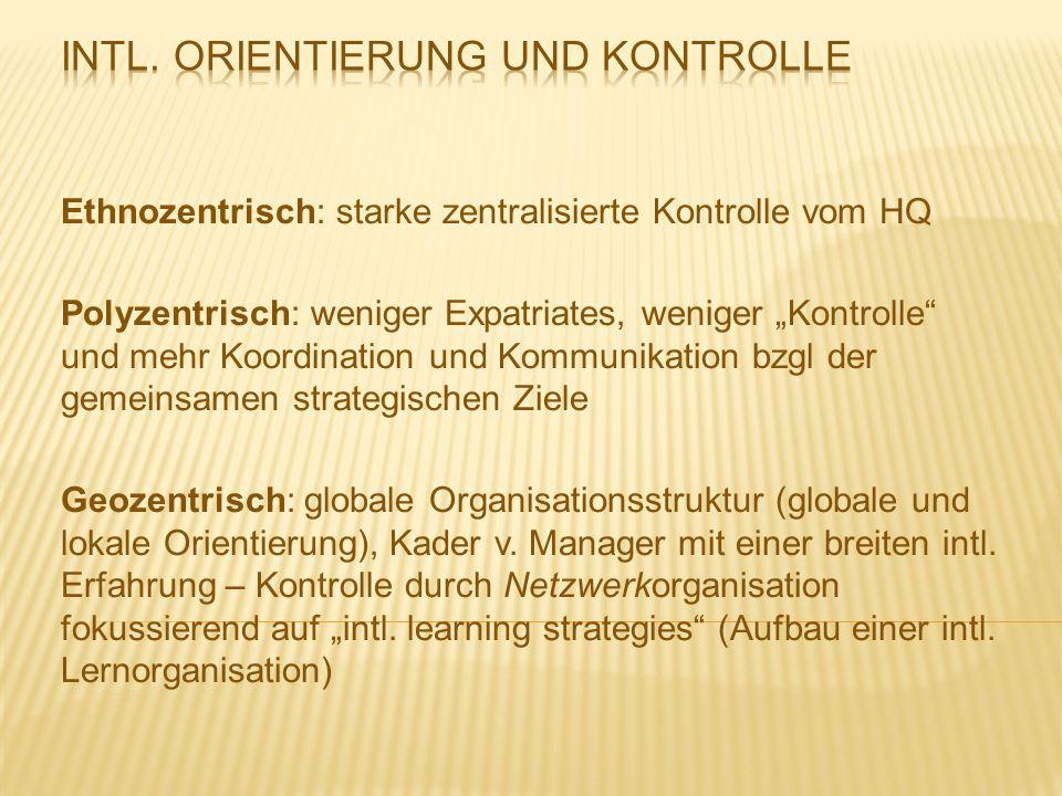 """Ethnozentrisch: starke zentralisierte Kontrolle vom HQ Polyzentrisch: weniger Expatriates, weniger """"Kontrolle"""" und mehr Koordination und Kommunikation"""