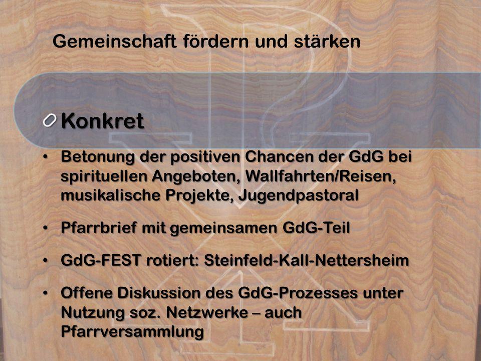 Gemeinschaft fördern und stärkenKonkret Betonung der positiven Chancen der GdG bei spirituellen Angeboten, Wallfahrten/Reisen, musikalische Projekte, Jugendpastoral Betonung der positiven Chancen der GdG bei spirituellen Angeboten, Wallfahrten/Reisen, musikalische Projekte, Jugendpastoral Pfarrbrief mit gemeinsamen GdG-Teil Pfarrbrief mit gemeinsamen GdG-Teil GdG-FEST rotiert: Steinfeld-Kall-Nettersheim GdG-FEST rotiert: Steinfeld-Kall-Nettersheim Offene Diskussion des GdG-Prozesses unter Nutzung soz.