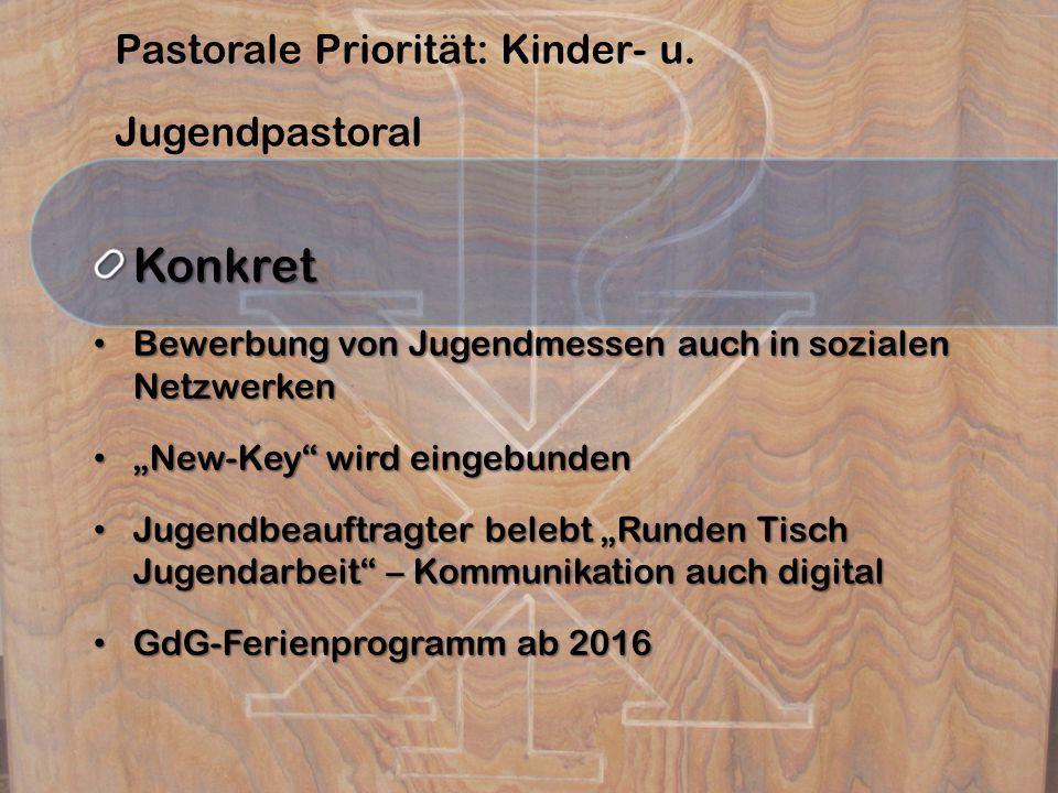 Pastorale Priorität: Kinder- u. JugendpastoralKonkret Bewerbung von Jugendmessen auch in sozialen Netzwerken Bewerbung von Jugendmessen auch in sozial