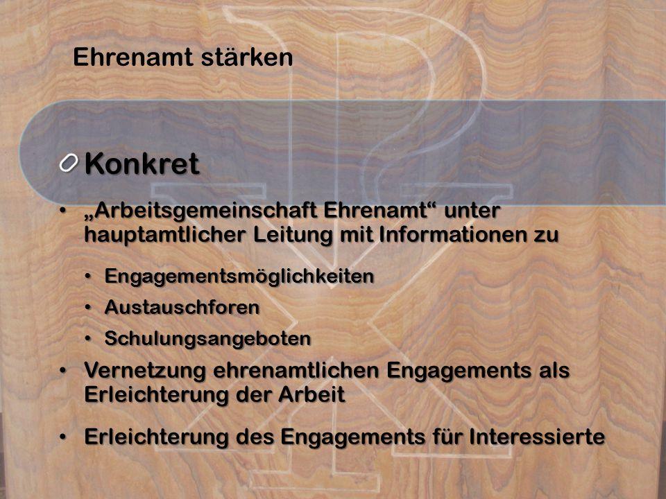 """Ehrenamt stärkenKonkret """"Arbeitsgemeinschaft Ehrenamt"""" unter hauptamtlicher Leitung mit Informationen zu """"Arbeitsgemeinschaft Ehrenamt"""" unter hauptamt"""