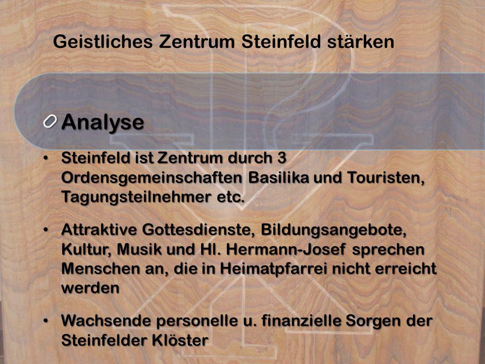 Geistliches Zentrum Steinfeld stärkenAnalyse Steinfeld ist Zentrum durch 3 Ordensgemeinschaften Basilika und Touristen, Tagungsteilnehmer etc.