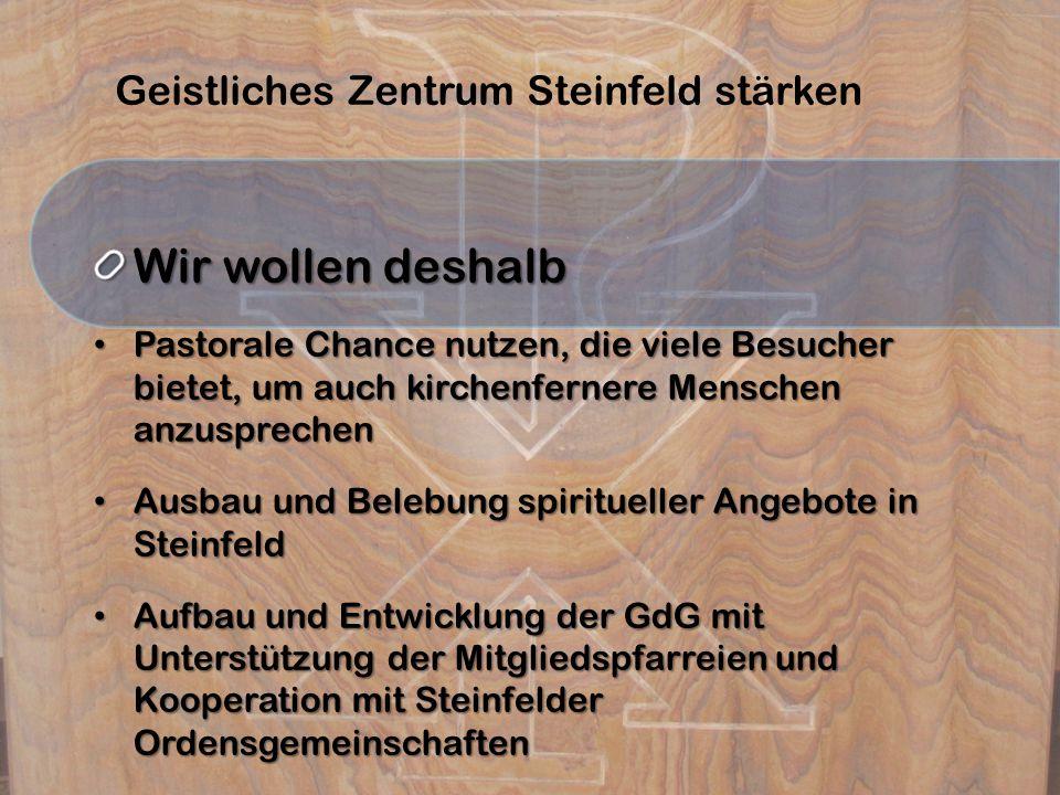 Geistliches Zentrum Steinfeld stärken Wir wollen deshalb Pastorale Chance nutzen, die viele Besucher bietet, um auch kirchenfernere Menschen anzusprec