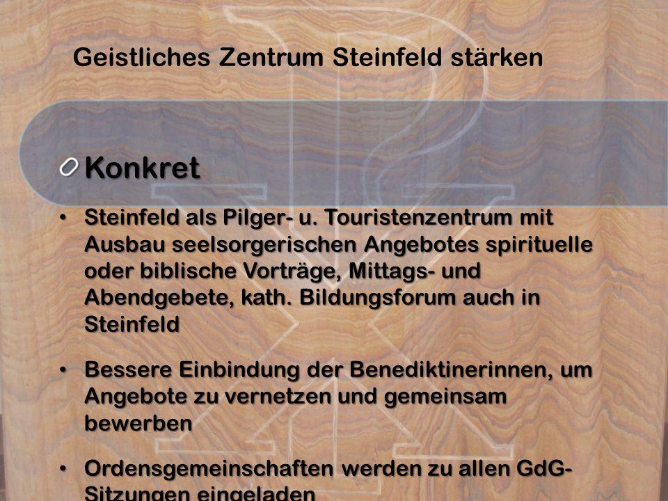 Geistliches Zentrum Steinfeld stärkenKonkret Steinfeld als Pilger- u. Touristenzentrum mit Ausbau seelsorgerischen Angebotes spirituelle oder biblisch