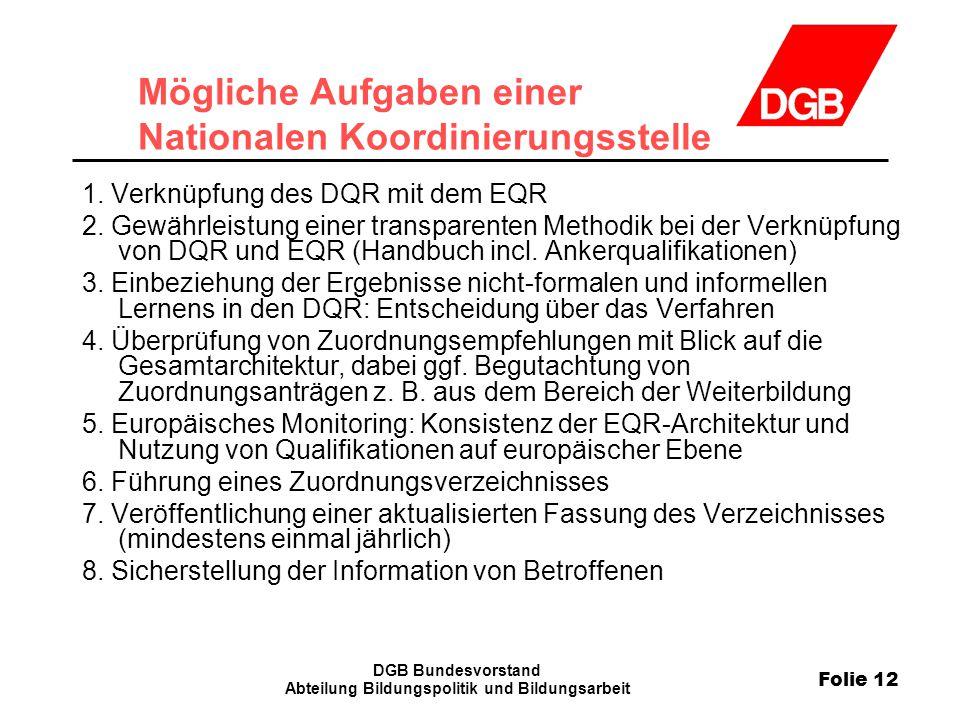 Folie 12 DGB Bundesvorstand Abteilung Bildungspolitik und Bildungsarbeit Mögliche Aufgaben einer Nationalen Koordinierungsstelle 1. Verknüpfung des DQ