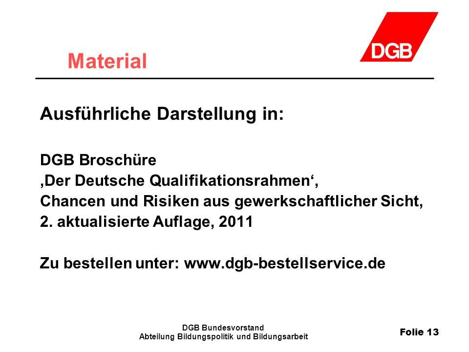 Folie 13 DGB Bundesvorstand Abteilung Bildungspolitik und Bildungsarbeit Material Ausführliche Darstellung in: DGB Broschüre 'Der Deutsche Qualifikati