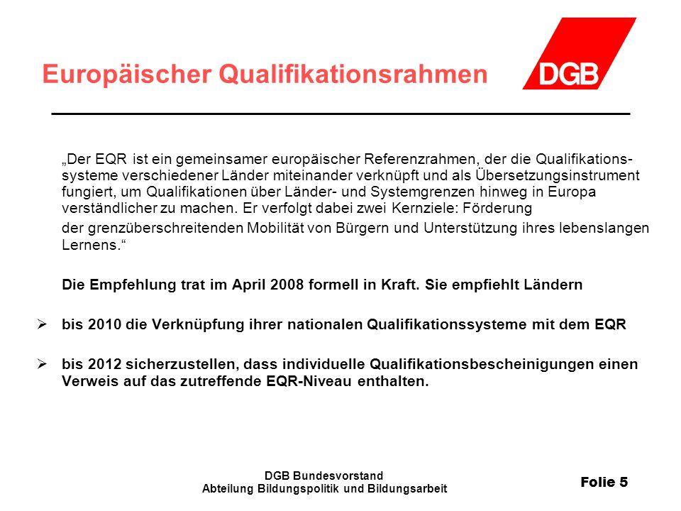 """Folie 5 DGB Bundesvorstand Abteilung Bildungspolitik und Bildungsarbeit Europäischer Qualifikationsrahmen """"Der EQR ist ein gemeinsamer europäischer Re"""