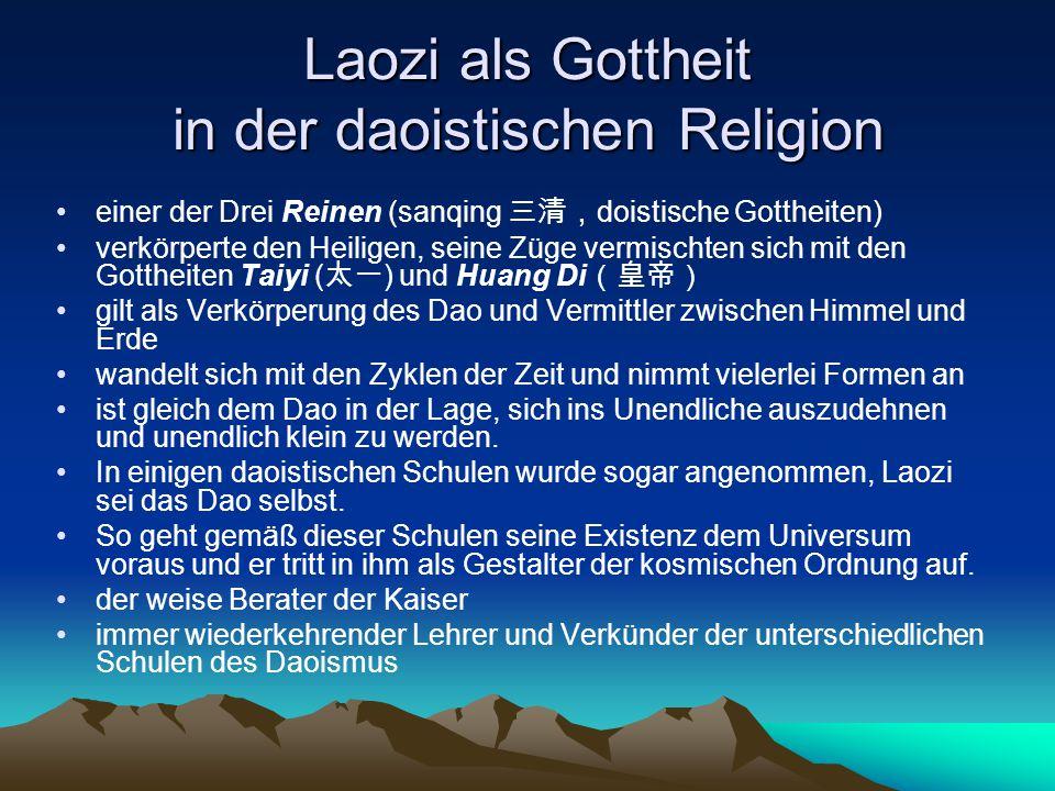 Laozi als Gottheit in der daoistischen Religion einer der Drei Reinen (sanqing 三清, doistische Gottheiten) verkörperte den Heiligen, seine Züge vermisc