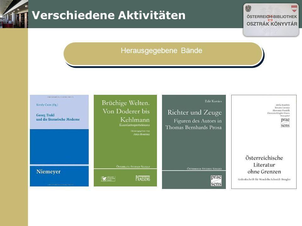 Verschiedene Aktivitäten Herausgegebene Bände