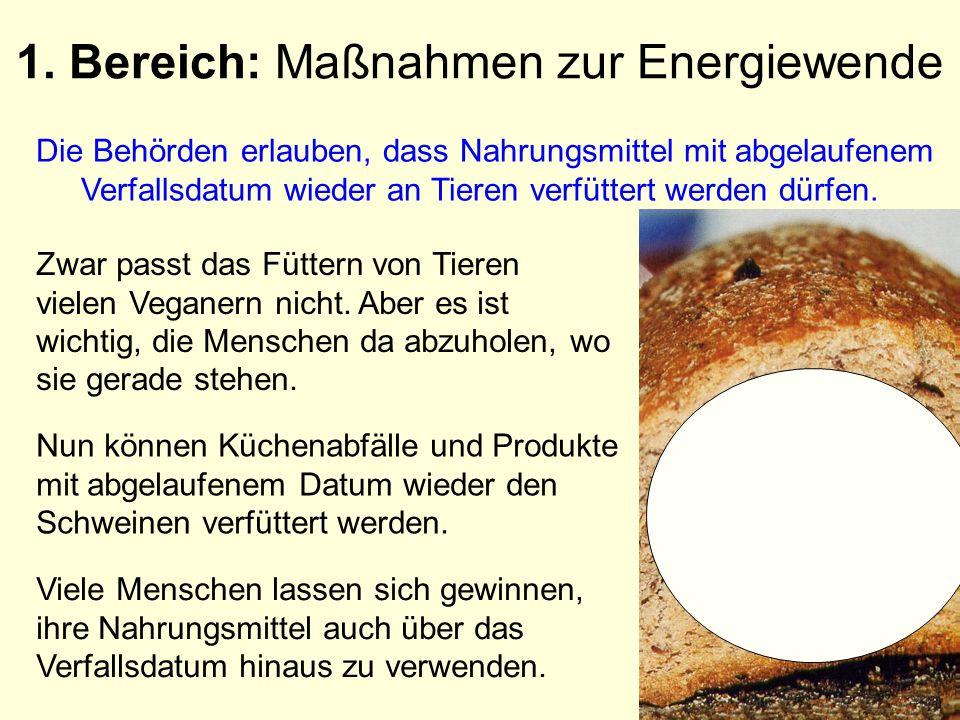 1. Bereich: Maßnahmen zur Energiewende Die Behörden erlauben, dass Nahrungsmittel mit abgelaufenem Verfallsdatum wieder an Tieren verfüttert werden dü