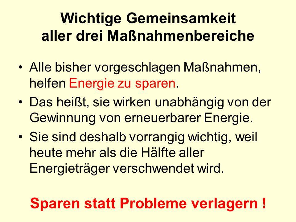 Alle bisher vorgeschlagen Maßnahmen, helfen Energie zu sparen. Das heißt, sie wirken unabhängig von der Gewinnung von erneuerbarer Energie. Sie sind d