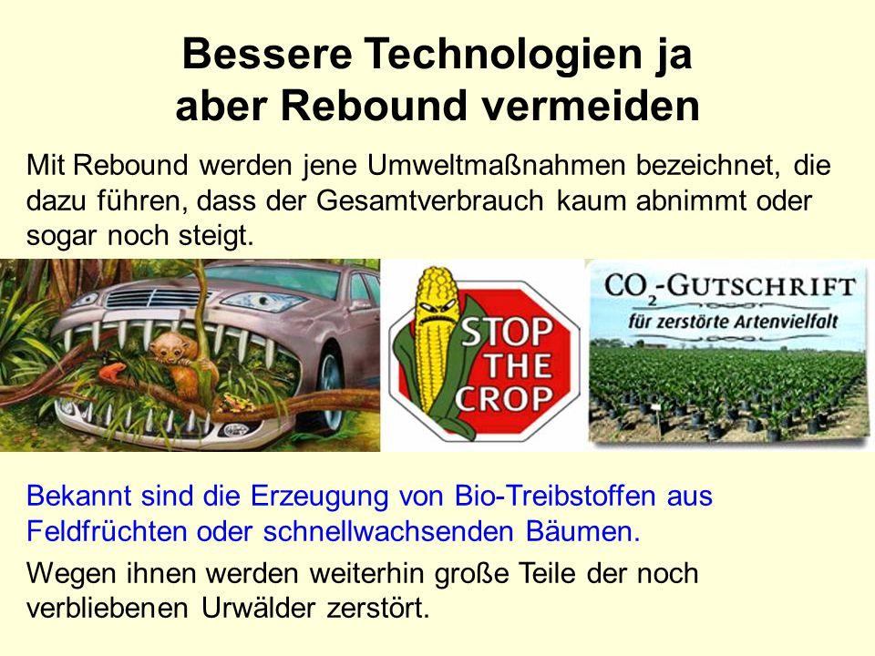 Bessere Technologien ja aber Rebound vermeiden Bekannt sind die Erzeugung von Bio-Treibstoffen aus Feldfrüchten oder schnellwachsenden Bäumen. Wegen i