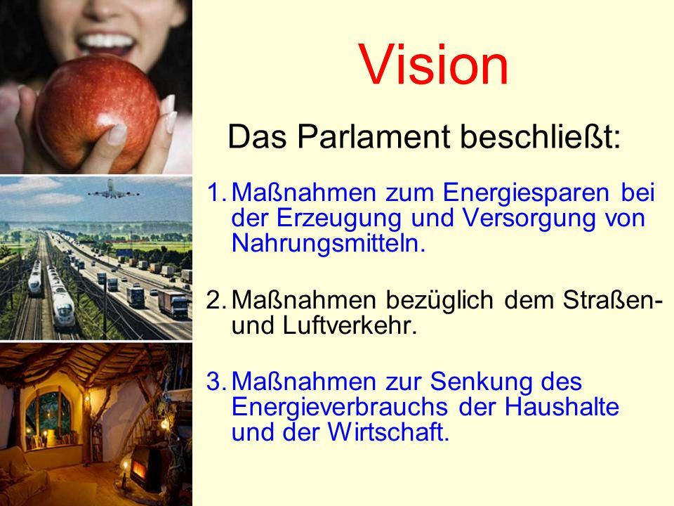 Vision 1.Maßnahmen zum Energiesparen bei der Erzeugung und Versorgung von Nahrungsmitteln. 2.Maßnahmen bezüglich dem Straßen- und Luftverkehr. 3.Maßna