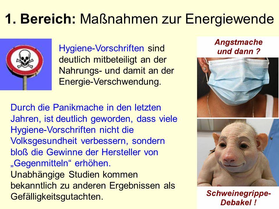 1. Bereich: Maßnahmen zur Energiewende Durch die Panikmache in den letzten Jahren, ist deutlich geworden, dass viele Hygiene-Vorschriften nicht die Vo