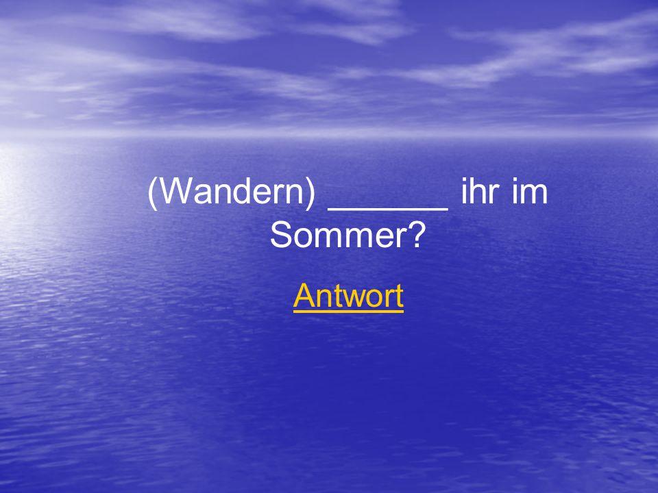 (Wandern) ______ ihr im Sommer Antwort