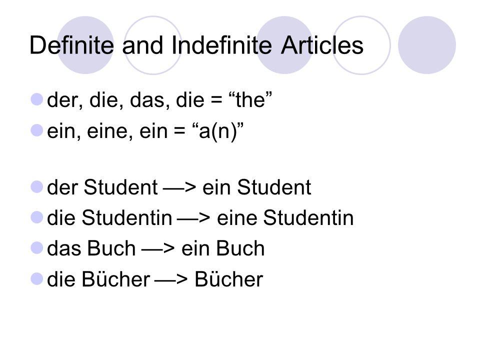 Definite and Indefinite Articles der, die, das, die = the ein, eine, ein = a(n) der Student —> ein Student die Studentin —> eine Studentin das Buch —> ein Buch die Bücher —> Bücher