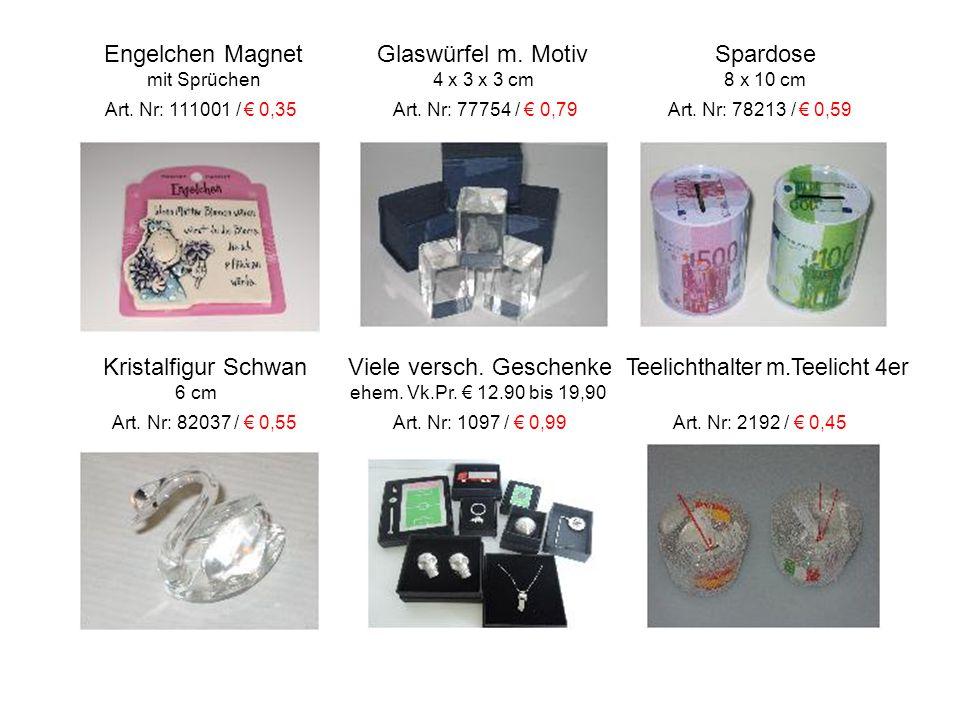 Engelchen Magnet Glaswürfel m. Motiv Spardose mit Sprüchen 4 x 3 x 3 cm 8 x 10 cm Art.