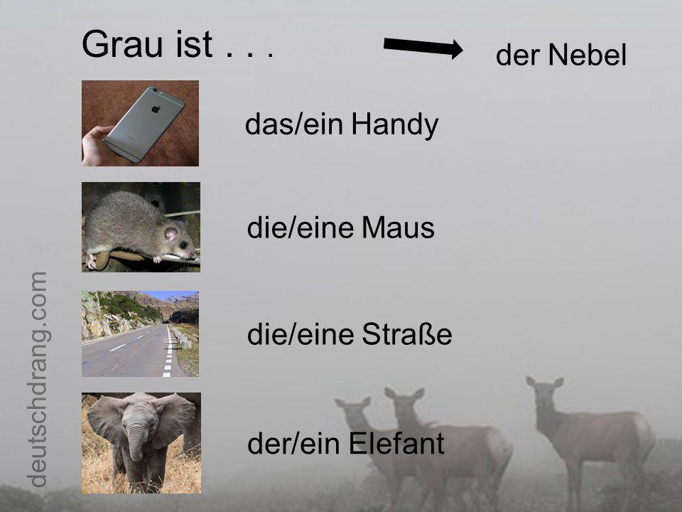 Grau ist... der Nebel das/ein Handy die/eine Maus die/eine Straße der/ein Elefant deutschdrang.com