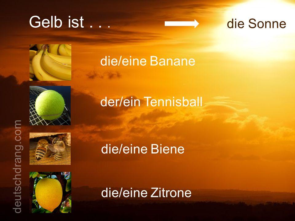 Gelb ist... die Sonne die/eine Banane der/ein Tennisball die/eine Biene die/eine Zitrone deutschdrang.com