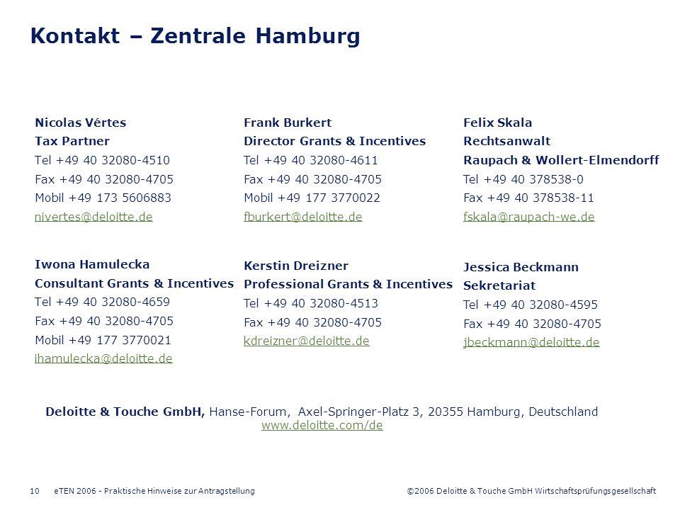 ©2006 Deloitte & Touche GmbH Wirtschaftsprüfungsgesellschaft eTEN 2006 - Praktische Hinweise zur Antragstellung10 Kontakt – Zentrale Hamburg Nicolas Vértes Tax Partner Tel +49 40 32080-4510 Fax +49 40 32080-4705 Mobil +49 173 5606883 nivertes@deloitte.de Iwona Hamulecka Consultant Grants & Incentives Tel +49 40 32080-4659 Fax +49 40 32080-4705 Mobil +49 177 3770021 ihamulecka@deloitte.de Kerstin Dreizner Professional Grants & Incentives Tel +49 40 32080-4513 Fax +49 40 32080-4705 kdreizner@deloitte.de Frank Burkert Director Grants & Incentives Tel +49 40 32080-4611 Fax +49 40 32080-4705 Mobil +49 177 3770022 fburkert@deloitte.de Deloitte & Touche GmbH, Hanse-Forum, Axel-Springer-Platz 3, 20355 Hamburg, Deutschland www.deloitte.com/de Felix Skala Rechtsanwalt Raupach & Wollert-Elmendorff Tel +49 40 378538-0 Fax +49 40 378538-11 fskala@raupach-we.de Jessica Beckmann Sekretariat Tel +49 40 32080-4595 Fax +49 40 32080-4705 jbeckmann@deloitte.de
