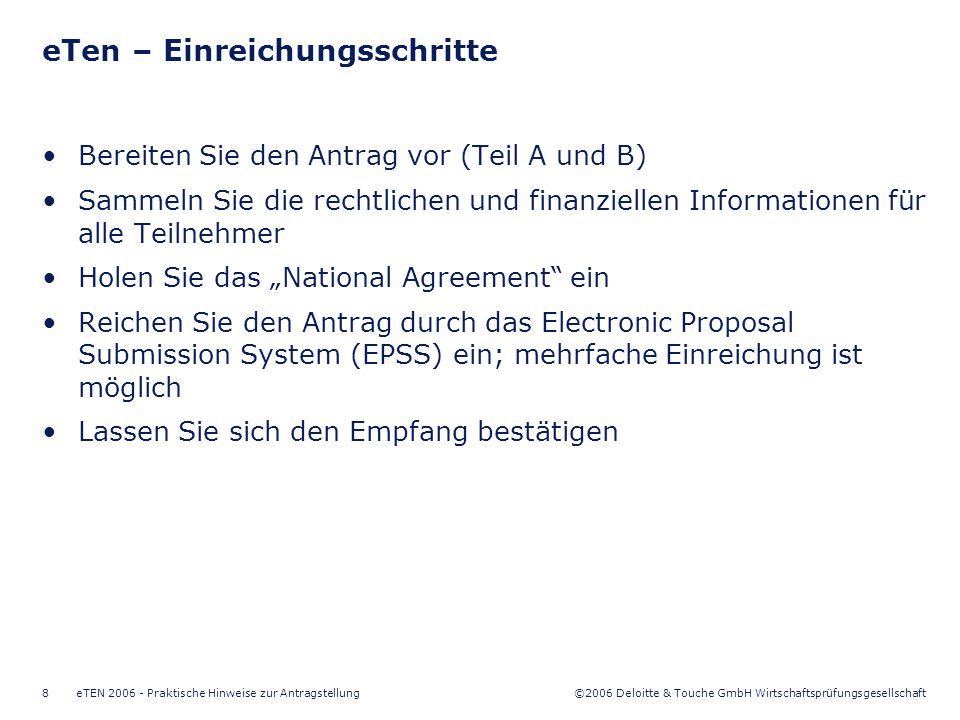 ©2006 Deloitte & Touche GmbH Wirtschaftsprüfungsgesellschaft eTEN 2006 - Praktische Hinweise zur Antragstellung9 Vielen Dank für Ihre Aufmerksamkeit!