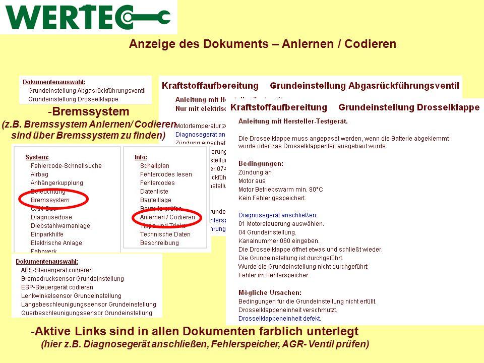 Anzeige des Dokuments – Anlernen / Codieren -Aktive Links sind in allen Dokumenten farblich unterlegt (hier z.B. Diagnosegerät anschließen, Fehlerspei