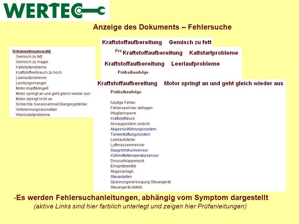 Anzeige des Dokuments – Fehlersuche -Es werden Fehlersuchanleitungen, abhängig vom Symptom dargestellt (aktive Links sind hier farblich unterlegt und