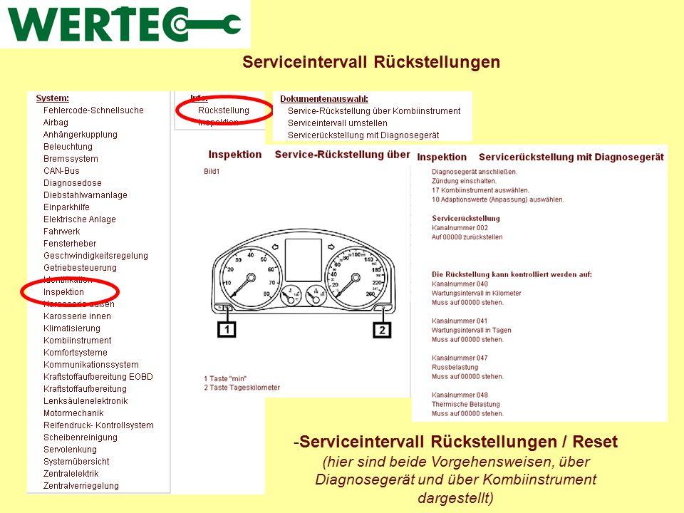 Serviceintervall Rückstellungen -Serviceintervall Rückstellungen / Reset (hier sind beide Vorgehensweisen, über Diagnosegerät und über Kombiinstrument
