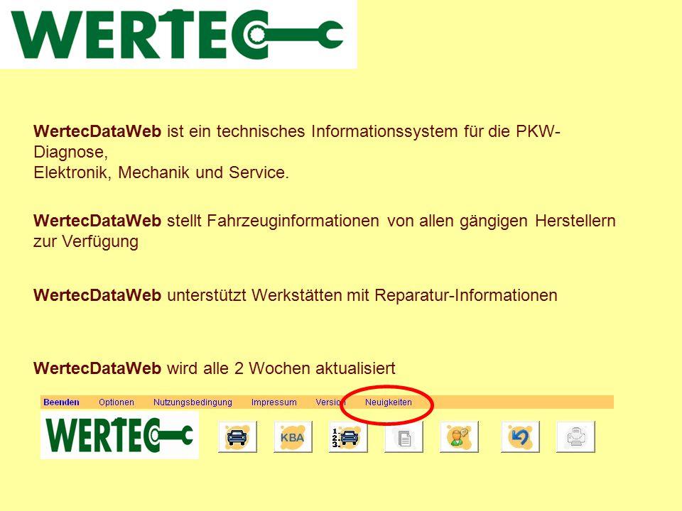 WertecDataWeb ist ein technisches Informationssystem für die PKW- Diagnose, Elektronik, Mechanik und Service. WertecDataWeb stellt Fahrzeuginformation