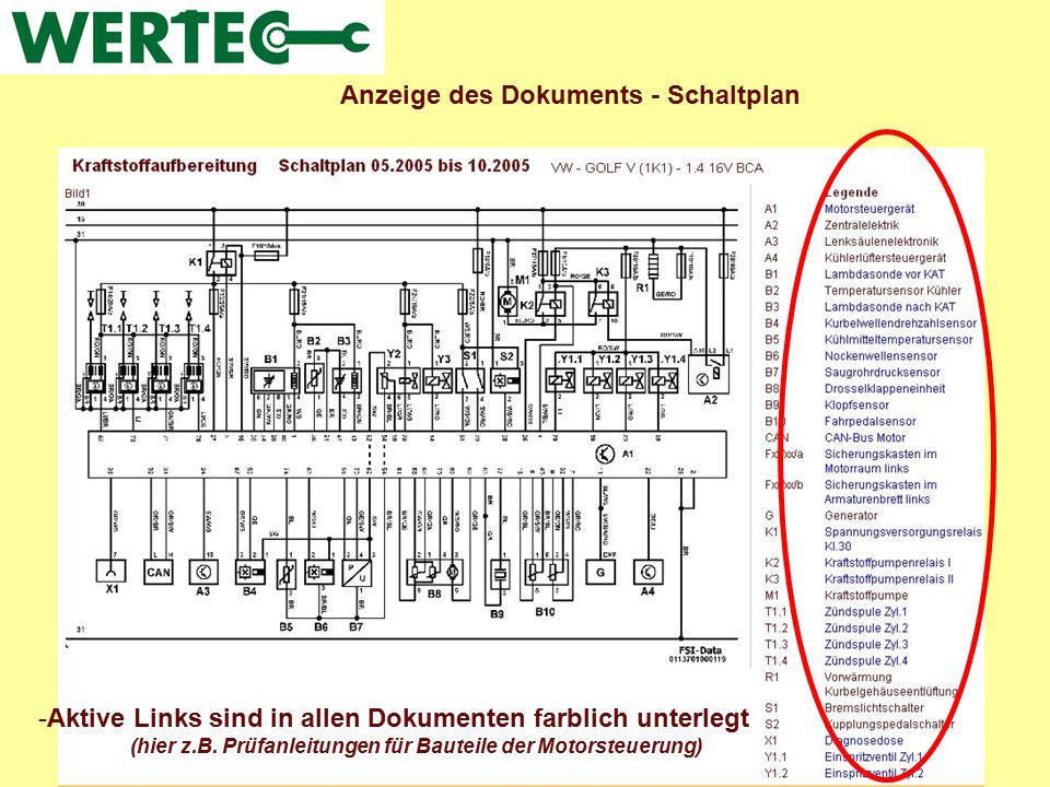 Anzeige des Dokuments - Schaltplan -Aktive Links sind in allen Dokumenten farblich unterlegt (hier z.B. Prüfanleitungen für Bauteile der Motorsteuerun