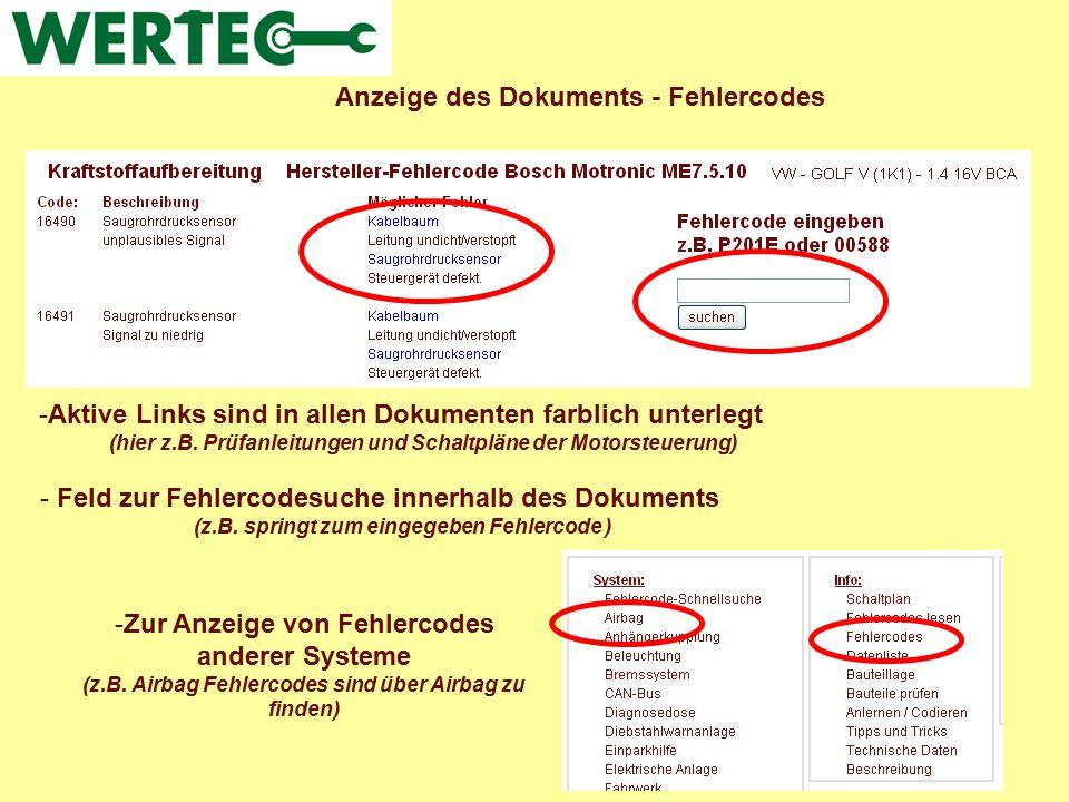 Anzeige des Dokuments - Fehlercodes -Aktive Links sind in allen Dokumenten farblich unterlegt (hier z.B. Prüfanleitungen und Schaltpläne der Motorsteu