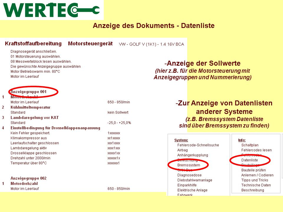 Anzeige des Dokuments - Datenliste -Anzeige der Sollwerte (hier z.B. für die Motorsteuerung mit Anzeigegruppen und Nummerierung) -Zur Anzeige von Date