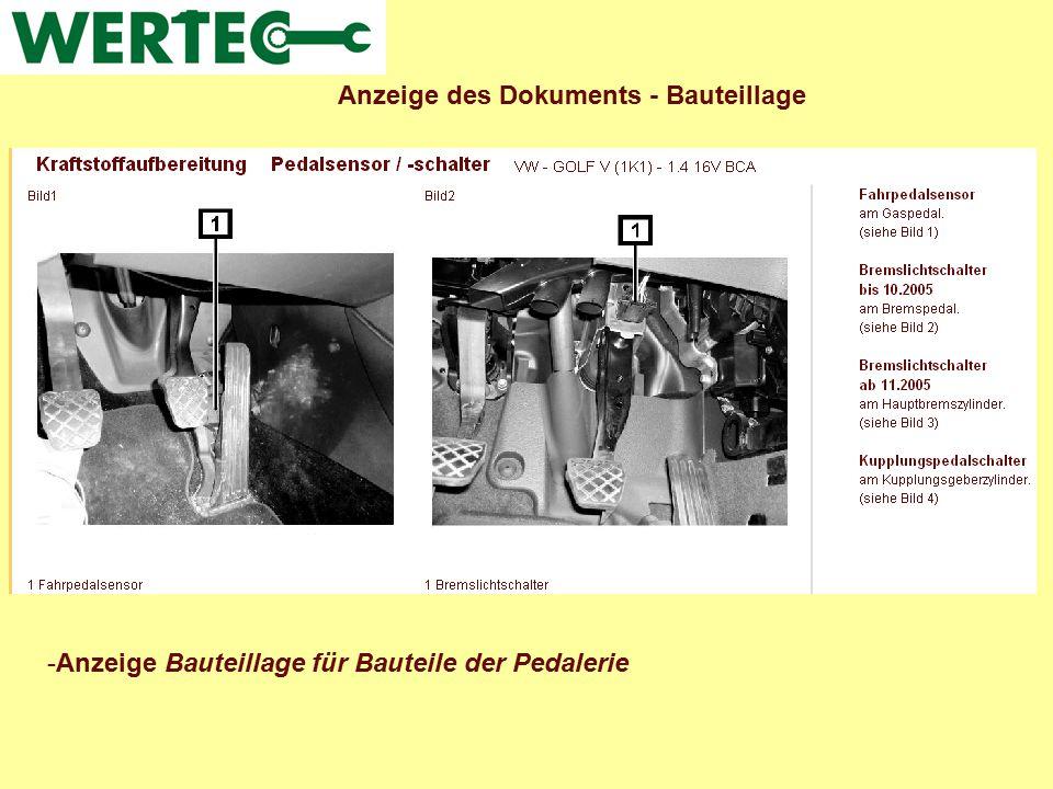 Anzeige des Dokuments - Bauteillage -Anzeige Bauteillage für Bauteile der Pedalerie