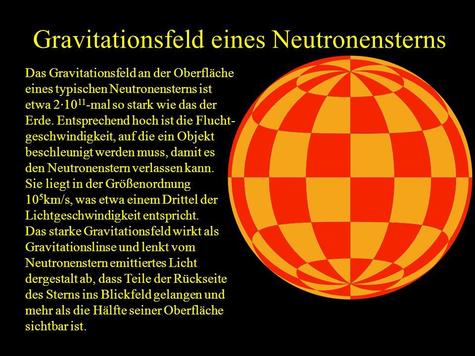 Gravitationsfeld eines Neutronensterns Das Gravitationsfeld an der Oberfläche eines typischen Neutronensterns ist etwa 2·10 11 -mal so stark wie das d