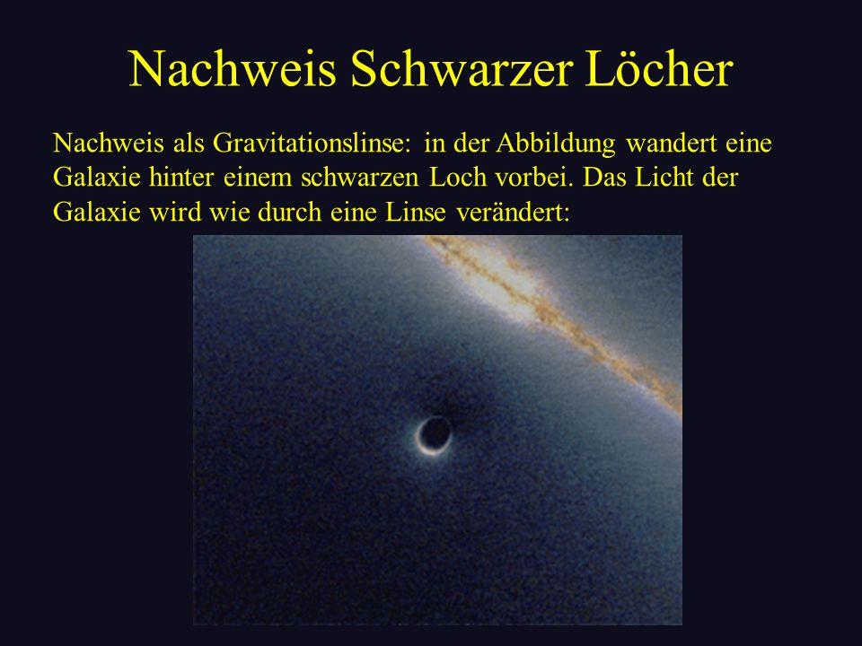 Nachweis Schwarzer Löcher Nachweis als Gravitationslinse: in der Abbildung wandert eine Galaxie hinter einem schwarzen Loch vorbei. Das Licht der Gala