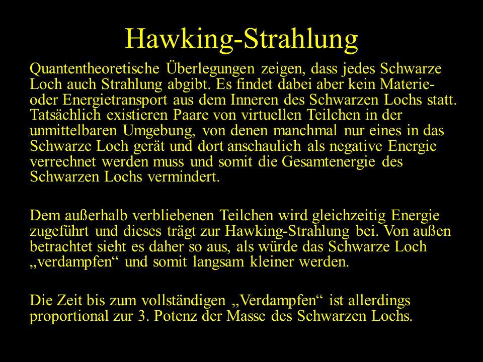 Hawking-Strahlung Quantentheoretische Überlegungen zeigen, dass jedes Schwarze Loch auch Strahlung abgibt. Es findet dabei aber kein Materie- oder Ene
