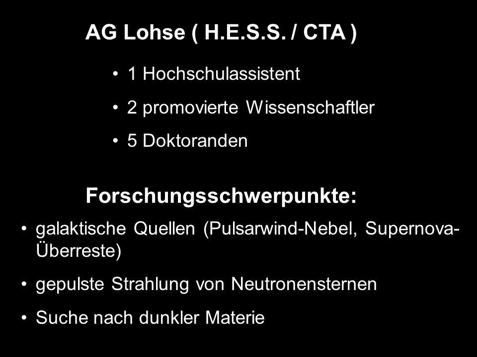 AG Lohse ( H.E.S.S. / CTA ) 1 Hochschulassistent 2 promovierte Wissenschaftler 5 Doktoranden Forschungsschwerpunkte: galaktische Quellen (Pulsarwind-N