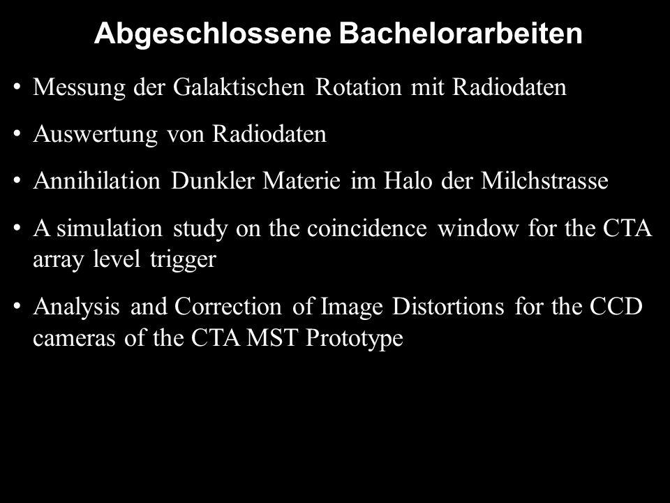 Abgeschlossene Bachelorarbeiten Messung der Galaktischen Rotation mit Radiodaten Auswertung von Radiodaten Annihilation Dunkler Materie im Halo der Mi