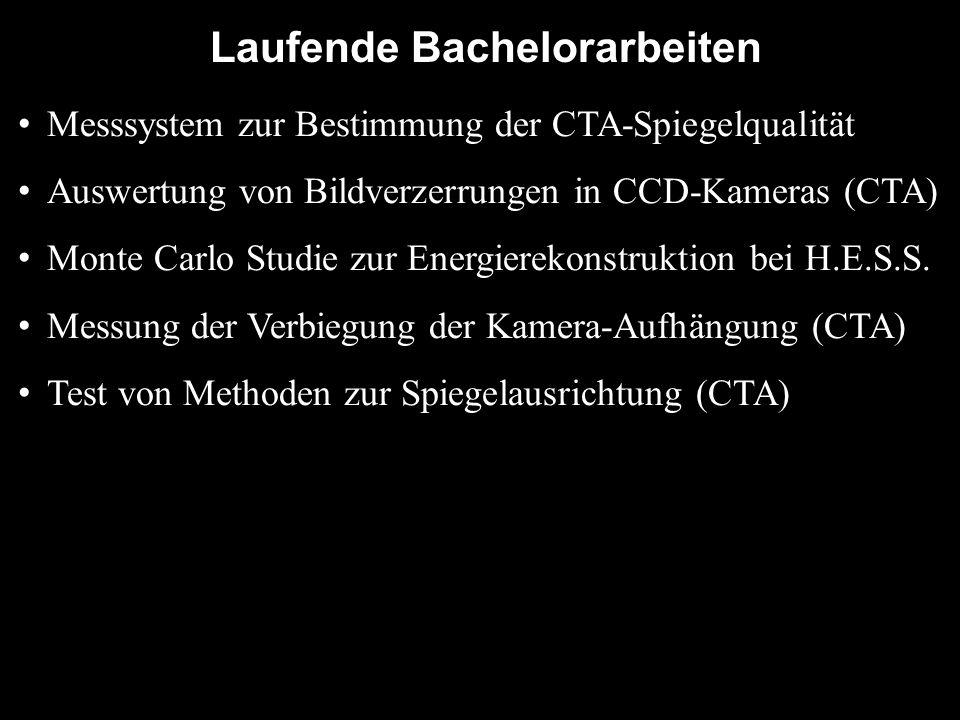 Laufende Bachelorarbeiten Messsystem zur Bestimmung der CTA-Spiegelqualität Auswertung von Bildverzerrungen in CCD-Kameras (CTA) Monte Carlo Studie zu