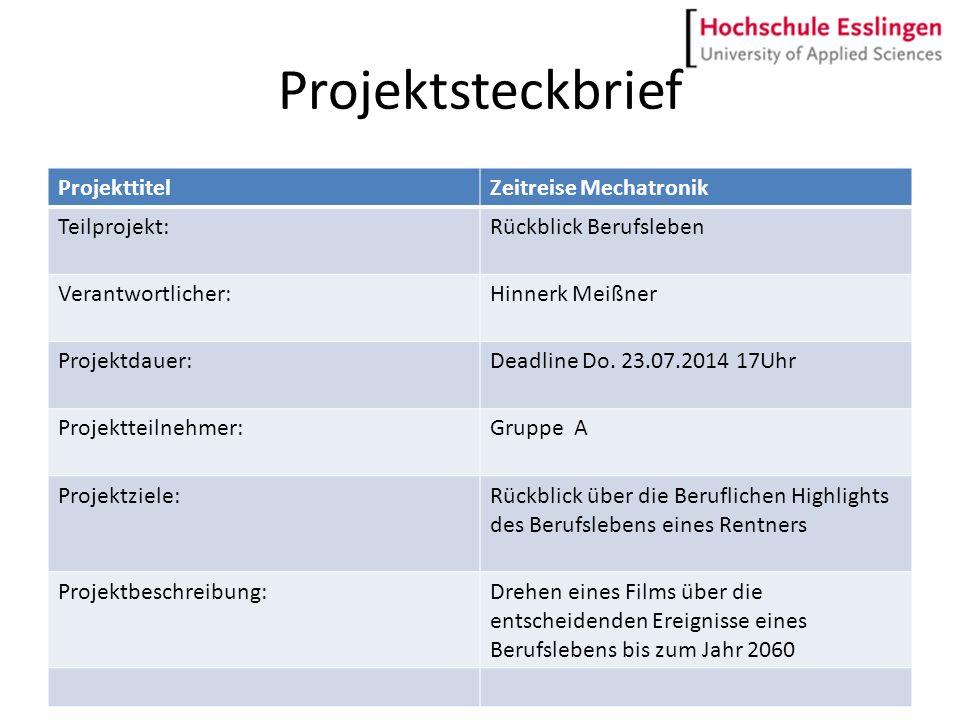 Projektsteckbrief ProjekttitelZeitreise Mechatronik Teilprojekt:Rückblick Berufsleben Verantwortlicher:Hinnerk Meißner Projektdauer:Deadline Do. 23.07