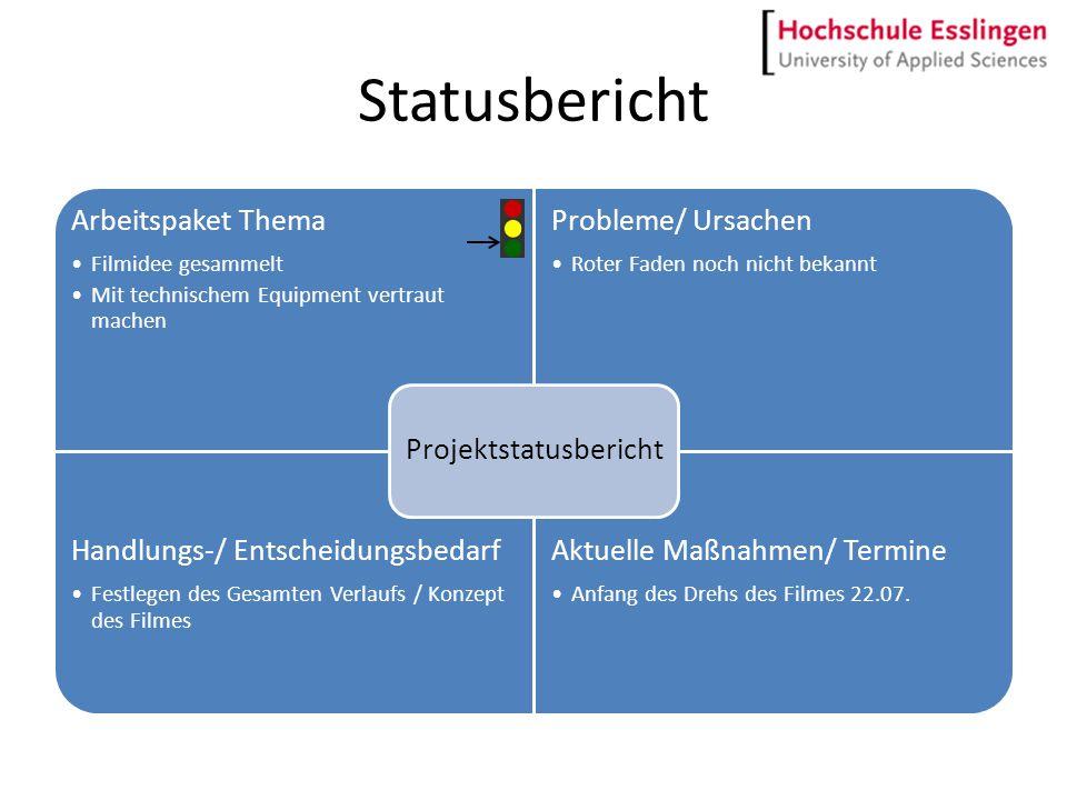 Statusbericht Arbeitspaket Thema Filmidee gesammelt Mit technischem Equipment vertraut machen Probleme/ Ursachen Roter Faden noch nicht bekannt Handlu