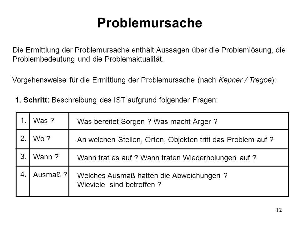 12 Problemursache Die Ermittlung der Problemursache enthält Aussagen über die Problemlösung, die Problembedeutung und die Problemaktualität. Vorgehens