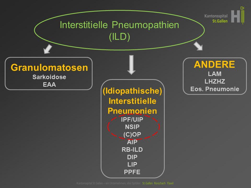Interstitielle Pneumopathien (ILD) (Idiopathische) Interstitielle Pneumonien IPF/UIP NSIP (C)OP AIP RB-ILD DIP LIP PPFE Granulomatosen Sarkoidose EAA ANDERE LAM LHZHZ Eos.